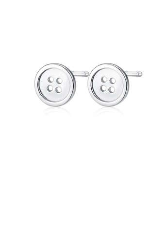Glamorousky silver 925 Sterling Silver Simple Fashion Button Stud Earrings C0A62AC052E2AAGS_1