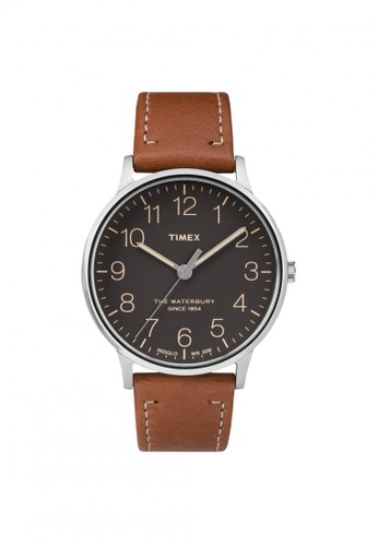 TIMEX brown Timex The Waterbury - Brown Leather Strap - Silver Case (TW2P95800) TI857AC56ZNVSG_1