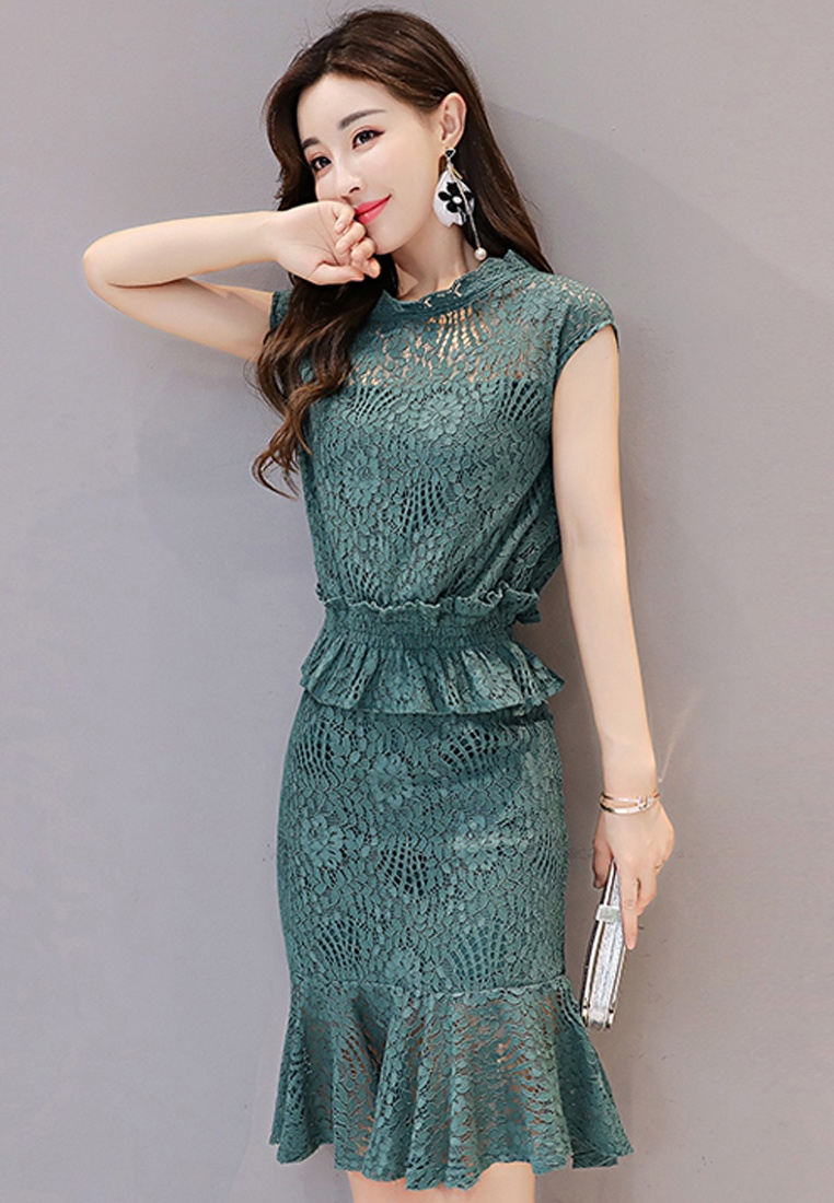 Short Sunnydaysweety Dress Sleeves Lace Mini Piece A072430GR Green One Green 2017 EqBzxz