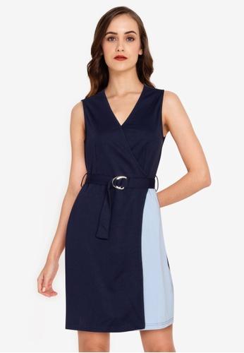 ZALORA WORK multi V Neck Colourblock Dress CCF86AA62E567AGS_1
