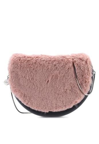 Hoola Hoola grey Chiara Saddle - Lavastone  Pink Fur & Snake Chain 73210ACE03C4EBGS_1