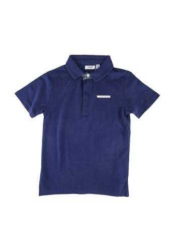 OVS blue Lettering Patch Polo Shirt 422A9KA0AD6512GS_1