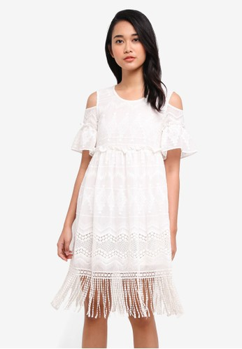 Hopeshow white Cold Shoulder Lace Dress 25392AAD3F7518GS_1
