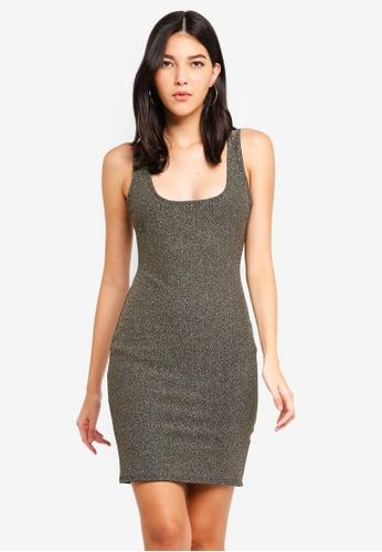 MISSGUIDED gold Metallic Square Neck Mini Dress 75D6AAA0F75085GS_1