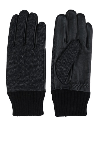 GLOBAL WORK black Knit with Faux Leather Gloves 6228EACB64AC86GS_1