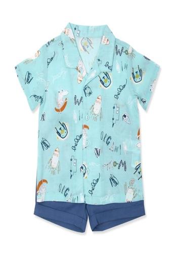 Organic mom blue Organic Cotton Felix Dinosaur Outfit DBC80KAE5F2619GS_1