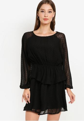 ZALORA OCCASION black Textured Mini Dress A6103AAFC55131GS_1