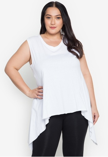 Multiples white Diana V Neck Sleeveless Plus Size Swing Blouse F4927AA5D1A960GS_1