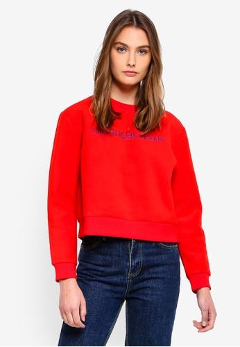Calvin Klein 紅色 Institutional Fleece Sweatshirt- Calvin Klein Jeans 368C6AAA254B70GS_1
