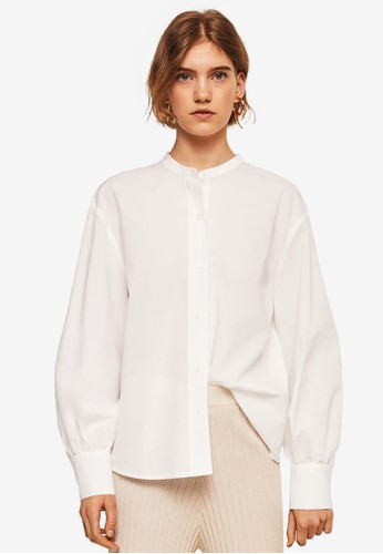MANGO white Mao Collar Shirt 50F8FAA06A0927GS_1