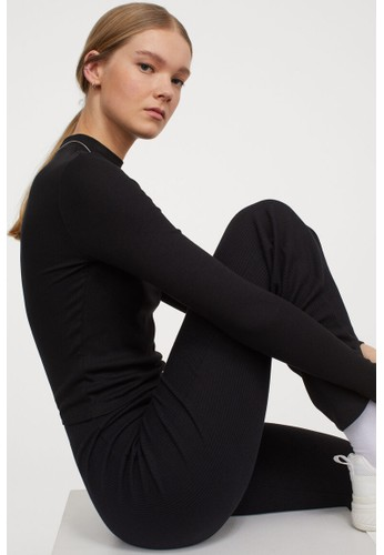 H&M black Stand-up collar top FBD5EAA3BCD4E5GS_1