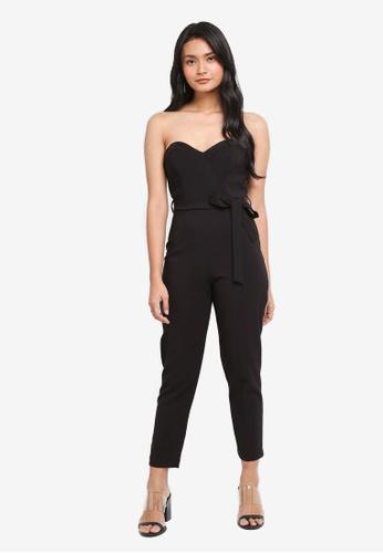Miss Selfridge black Sweetheart Tie Jumpsuit 2FE9EAAE8148BCGS_1