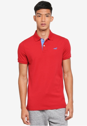 Hollister red Core Short Sleeve Solid Polo Shirt 58B00AA67B3153GS_1