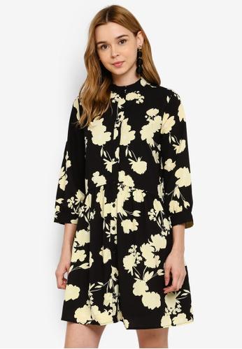Pieces 黑色 花卉襯衫短洋裝 C2B8FAAA8E47C4GS_1
