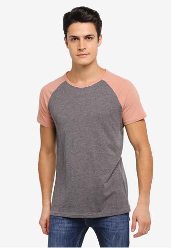 Burton Menswear London grey Raglan Tee Shirt BU964AA0SLFDMY_1