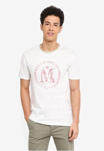 United Colors of Benetton 白色 復古拓印風格短袖T恤 4369AAAF5D66B8GS_1