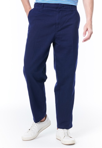 United Colors of Benetton navy Chinos with Embroidered Logo BB08AAACFBD740GS_1