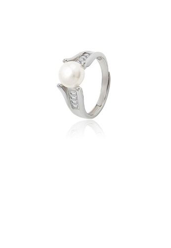 Glamorousky white 925 Sterling Silver Fashion Simple Geometric Freshwater Pearl Adjustable Ring with Cubic Zirconia 82056AC37A04C8GS_1