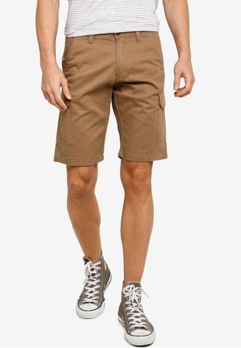 Electro Denim Lab brown Twill Cargo Shorts F988DAA7AEEC81GS_1
