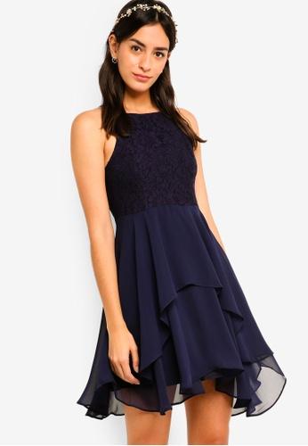 ZALORA navy Bridesmaid Lace Bodice Fit & Flare Dress 6C0B9AA9CD2802GS_1