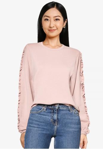 JACQUELINE DE YONG pink Prove Long Sleeve Frill Sweatshirt CE4DCAA08A6CA5GS_1