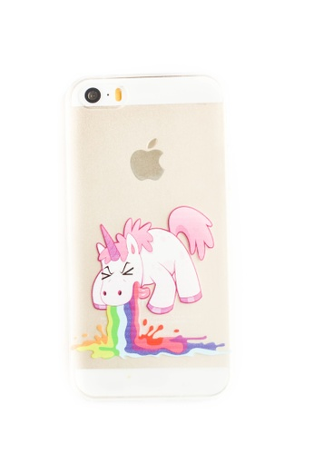 Fancy Cellphone Cases multi Unicorn Vomit Hard Transparent Case for iPhone 5/5s/SE FA644AC97YZIPH_1