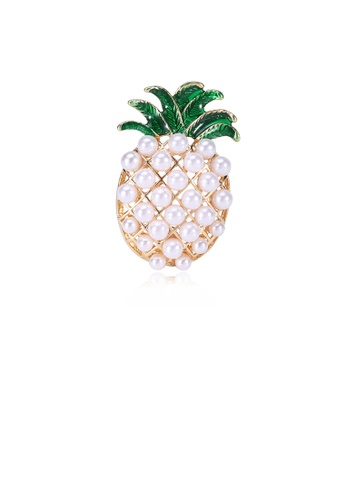 Glamorousky white Fashion and Simple Plated Gold Pineapple Brooch with Imitation Pearls 37162ACE40E245GS_1