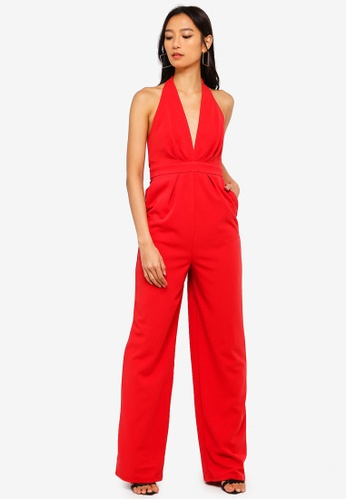 NA-KD red Halterneck Wrap Front Jumpsuit 70E47AAC67F295GS_1