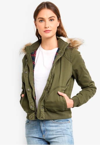 Hollister green Flannel-Lined Bomber Jacket AF8B1AA85A1011GS_1