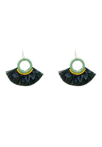Red's Revenge green Tropical O-Ring Fringe Statement Earrings 2C7FDAC7F14E0FGS_1