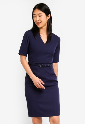 ZALORA BASICS navy Basic Tailored Belted Dress 19256AA5AE6962GS_1