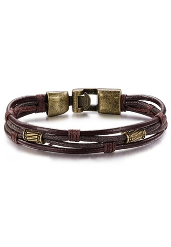 YOUNIQ brown YOUNIQ Handmade Fashion Leather Bracelet Wristband For Men (Copper) 72B04ACE13F3D1GS_1