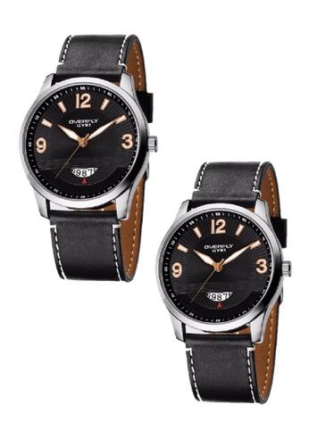 Eyki black Bundle 2 Units EYKI OVERFLY Date Subdial Carbon Man Leather Watch W8533 Black Gold EY078AC0RR7JMY_1