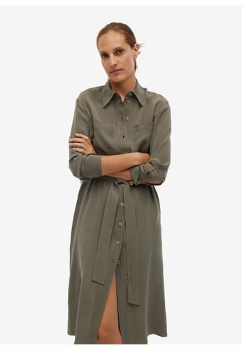 Mango green Belted Cupro Dress 023BFAA6601079GS_1