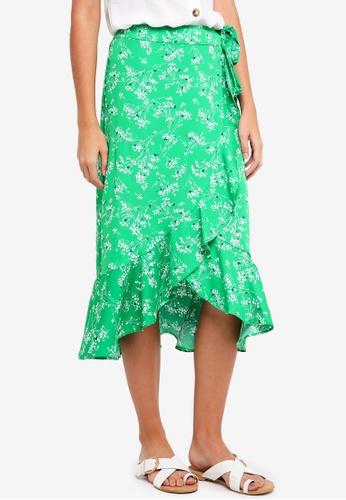 TOPSHOP green Wispy Floral Midi Skirt 4B280AA1C01DC9GS_1