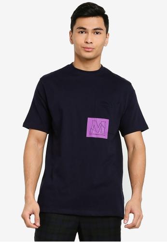 Mennace navy Short Sleeve Overlap Pocket Print T-Shirt 76CC5AAFB000E1GS_1