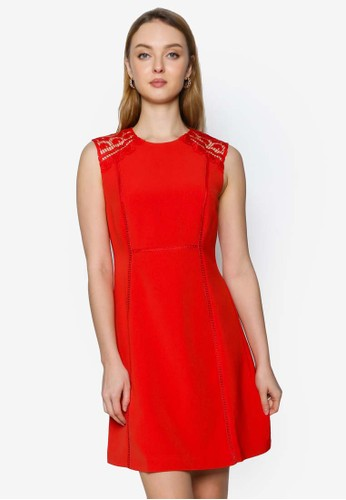 Saturday Club red Shift Dress With Embroidered Detail EA91AAADED31BEGS_1