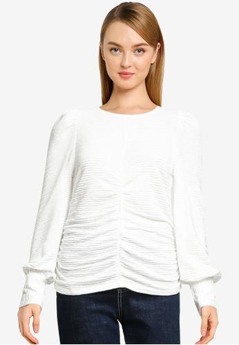 Vero Moda white Joceline Long Sleeve Ruching Top EED2AAAD4A3FCBGS_1