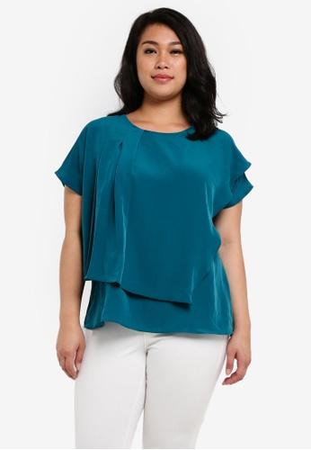 Ex'otico blue Plus Size Short Sleeve Overlap Blouse EX373AA0RUVMMY_1