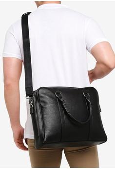 e6023e45f63f MANGO Man black Zip-Pockets Pebbled Tote Briefcase 1E168AC7C2E038GS_1