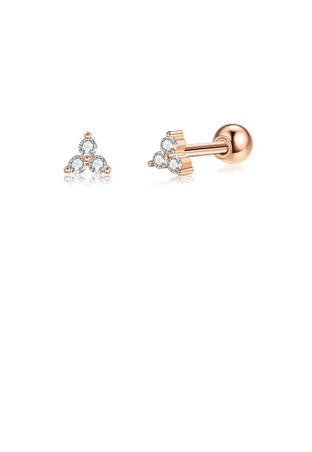 Glamorousky white 925 Sterling Silver Plated Rose Gold Simple Cute Geometric Triangle Stud Earrings with Cubic Zirconia DCB70AC4C4EA8DGS_1