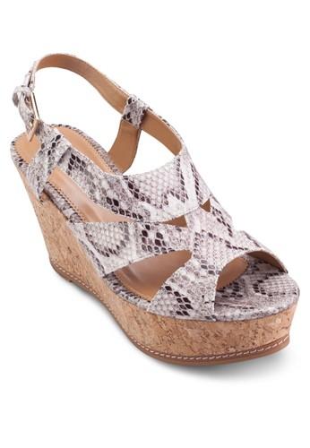 厚底楔型跟涼鞋, esprit台灣官網女鞋, 鞋