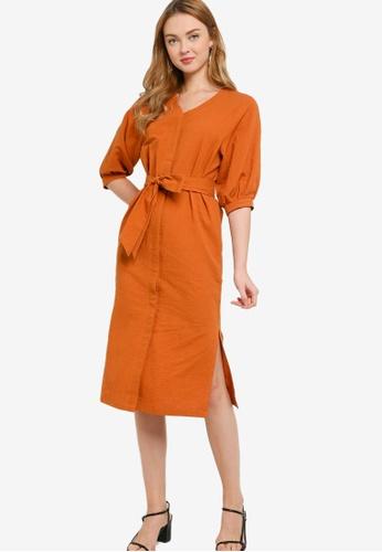 ZALORA WORK brown Button Down Boxy Dress 469DCAA9851925GS_1