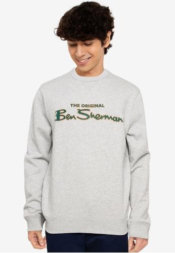 Ben Sherman grey Flock Signature Crew Sweatshirt 58875AAA01C1DAGS_1