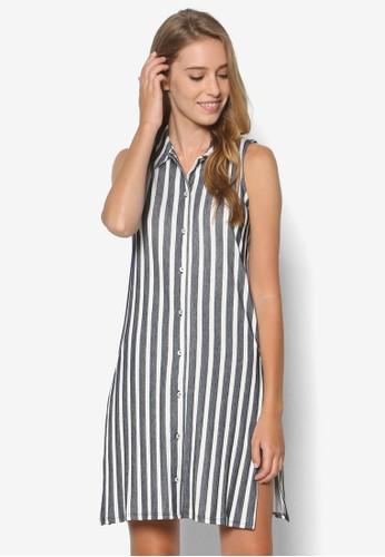 條紋無袖襯衫zalora是哪裡的牌子式洋裝, 服飾, 服飾