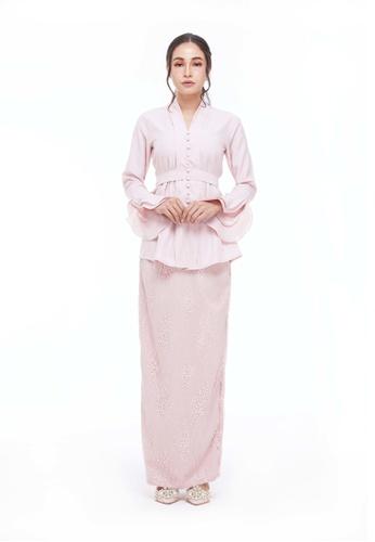 Blush Pink Irisa Ikat Modern Kebaya from CANGKUK in Pink