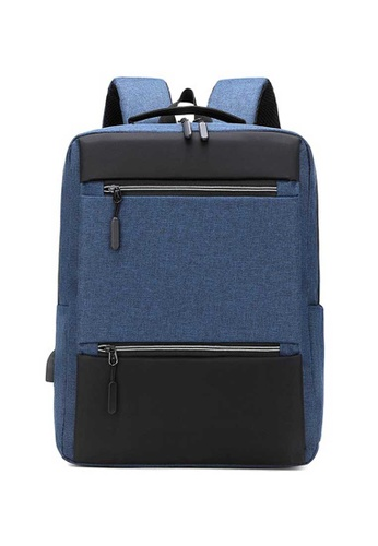 Lara blue Businessmen's Minimalist Nylon Zipper Backpack - Blue 91FFCAC48E2AD1GS_1