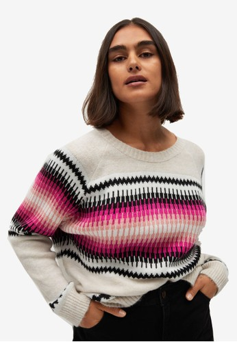 Violeta by MANGO beige Plus Size Geometric Jacquard Sweater 066D0AAE9AB1EFGS_1