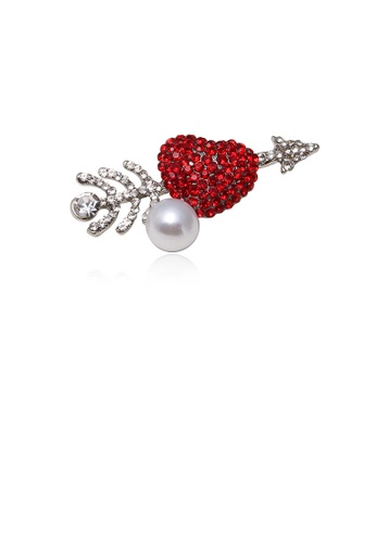 Glamorousky white Fashion and Elegant Heart-shaped Imitation Pearl Brooch with Cubic Zirconia 4CB3CAC5A9B9A0GS_1