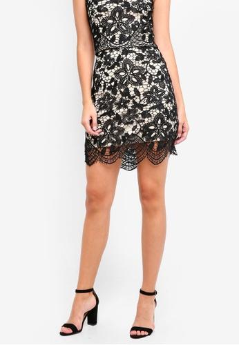 Something Borrowed black Lace Slit Mini Skirt 8DBC5AA62465C9GS_1
